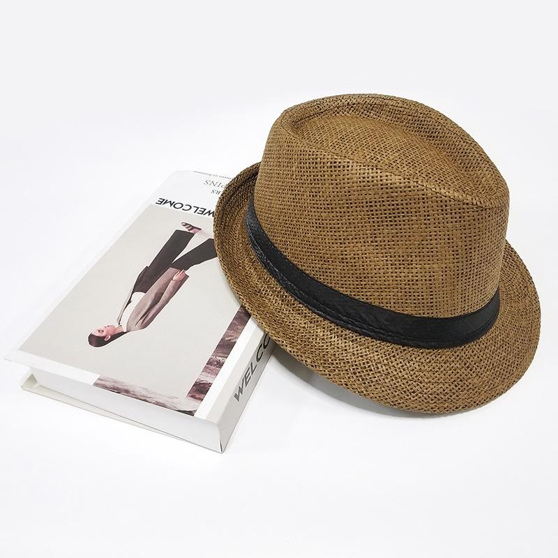 2019年新款英伦风爵士帽子男女春夏季亚麻小礼帽户外沙滩遮阳草帽