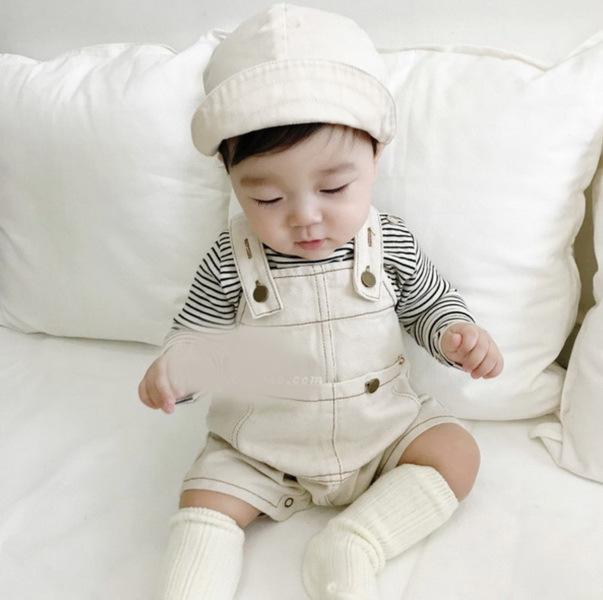 童裤2019夏款宝宝韩国童装牛仔连体背带裤婴童休闲可爱背带短裤