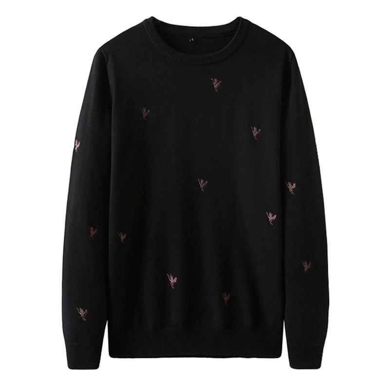 P潮牌男装秋冬新款针织衫毛衣英伦风动物仙鹤刺绣套头圆领羊毛衫