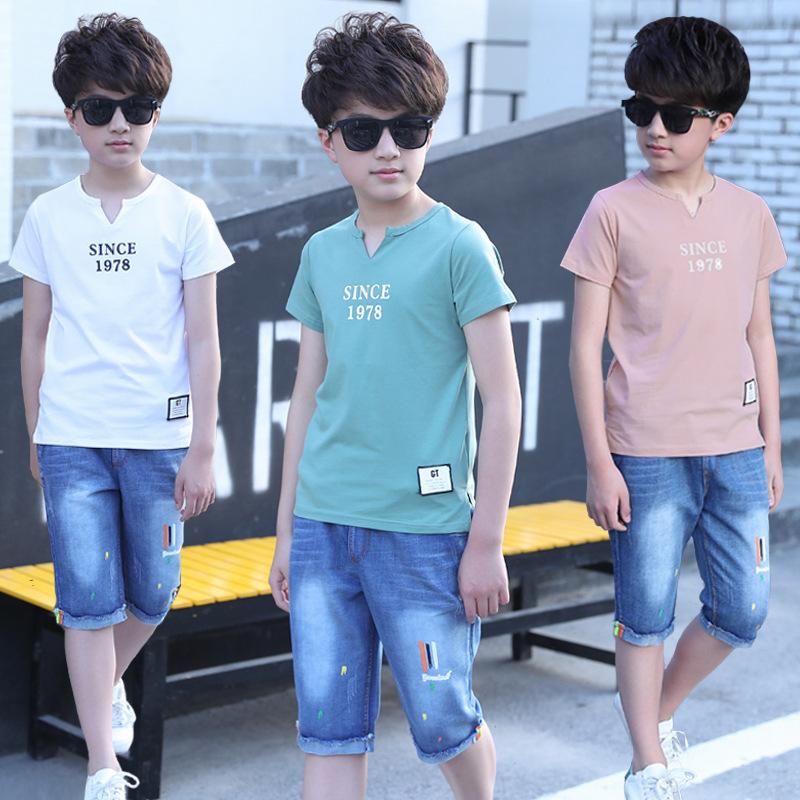 男童套装夏装2019新款休闲跨境字母短袖韩版牛仔裤童装两件套潮流