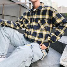 2019春款新品韩版男士青年印花加绒加厚衬衫格子学生潮牌中性清新