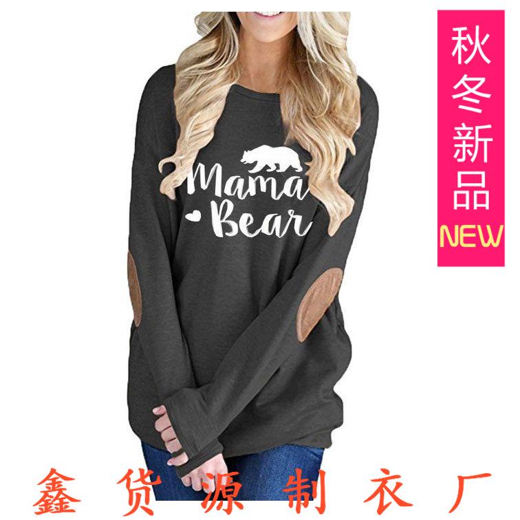 亚马逊速卖通欧美外贸秋季新款印花圆领蝙蝠长袖补丁装饰T恤