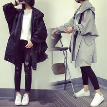 2018春秋新款韩版宽松chic百搭上衣中长款假口袋BF外套风衣女