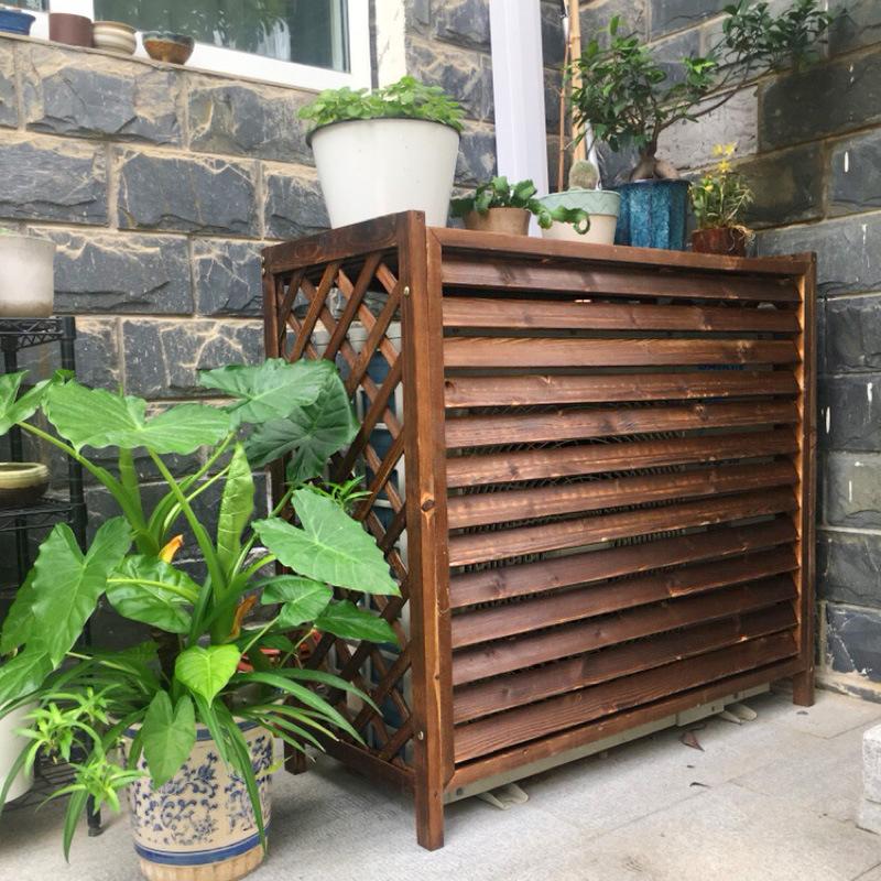 空调外机罩碳化防腐木实木花架 田园木质户外种植架阳台网格花盆