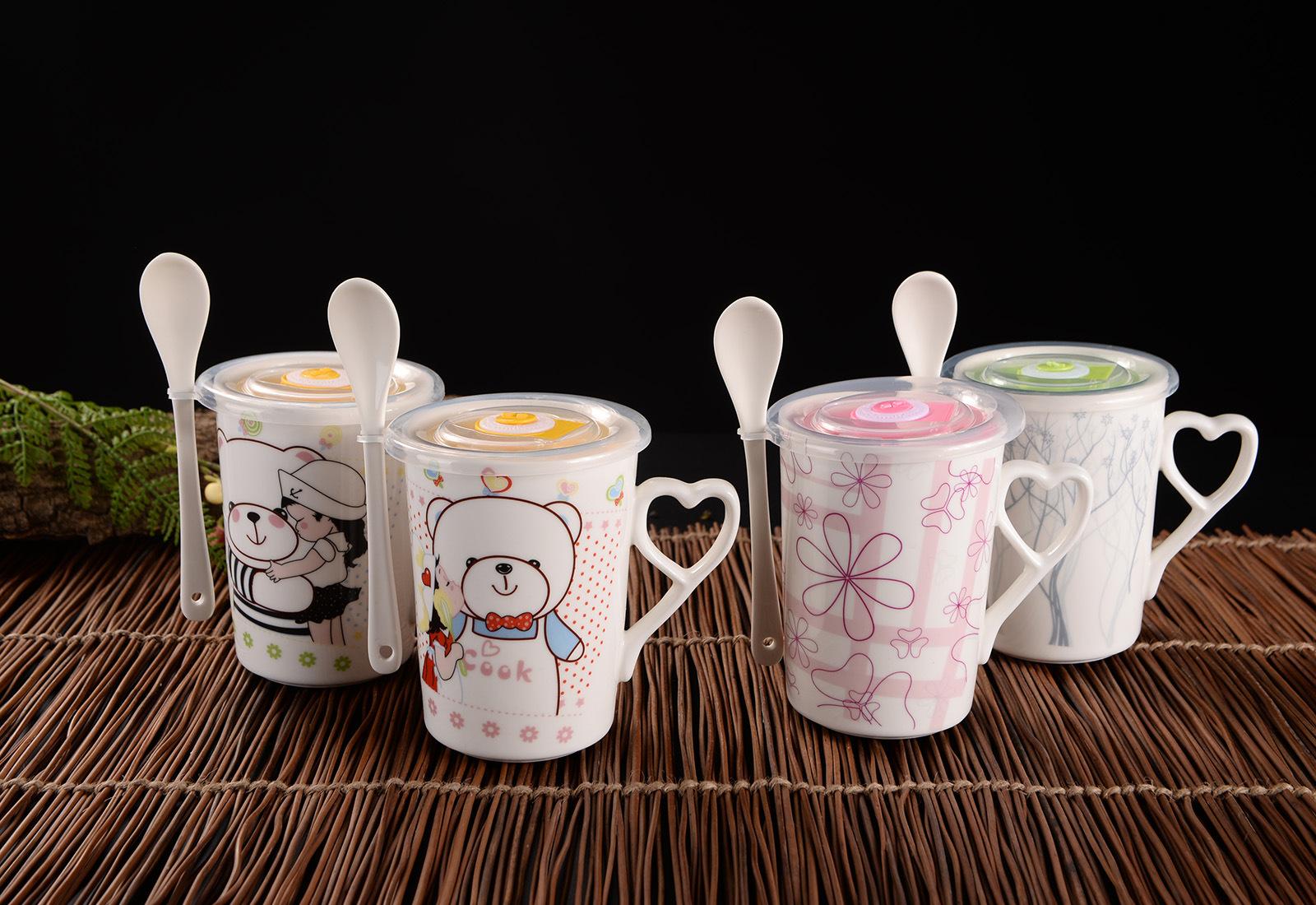 简约手绘马克杯 情侣咖啡杯 带盖带勺环保水杯 定制卡通图案logo