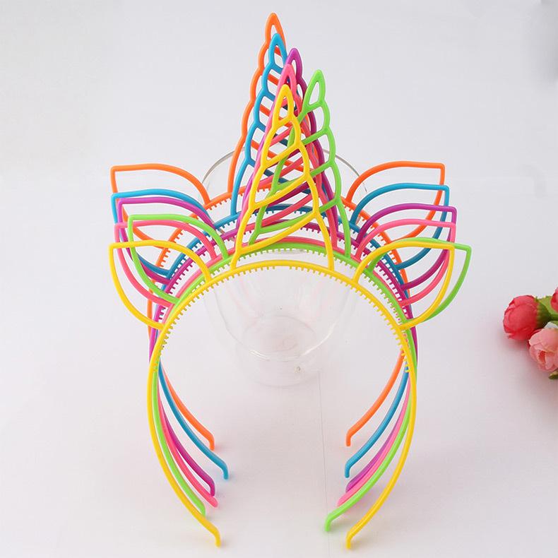 糖果色鹿角耳朵頭箍歐美熱賣節日發箍亮粉時尚獨角獸發飾品可定制