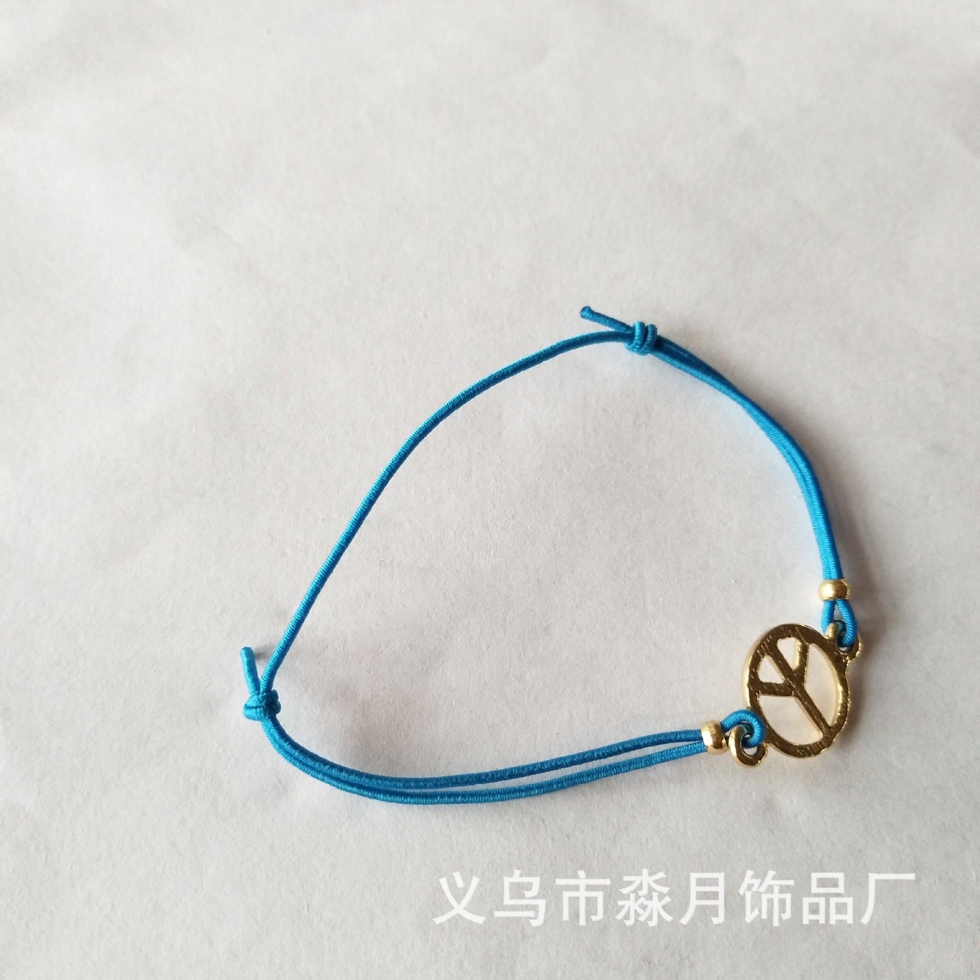 礼品定制蜡绳编织木珠手绳合金电镀古铜树叶形吊坠手链活赠品