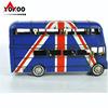 仿古鐵藝汽車模型 復古雙層巴士模型英國國旗版 金屬工藝品擺件