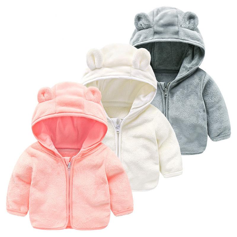 儿童连帽小熊女童男童可爱耳朵双面绒外衣上衣秋装保暖毛毛衣外套