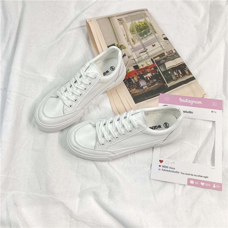 韩国范ins街拍纯白色帆布鞋女2018春学生百搭皮面小白鞋名将0372