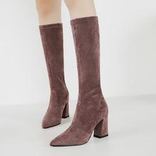 2387-3(售完不补)特价鞋百搭粗跟弹力靴高跟优游棋牌游戏筒尖头单靴女靴
