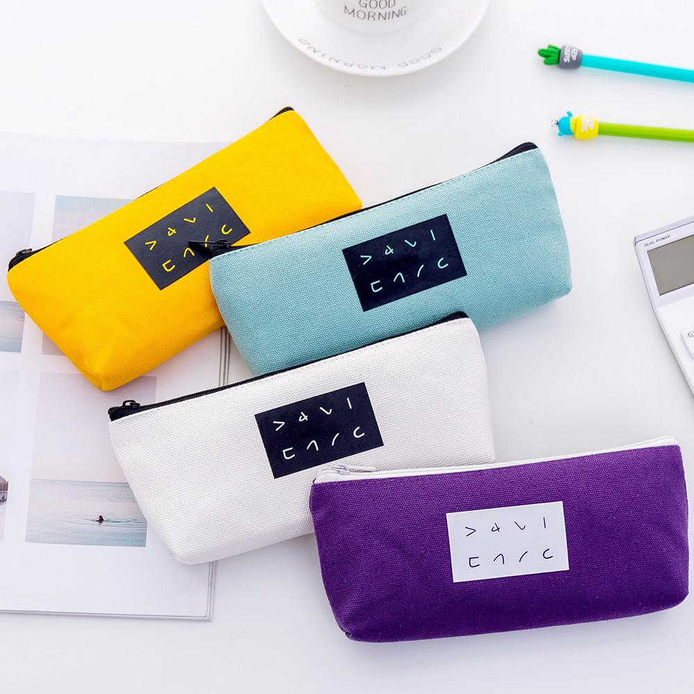 Q联诚夏季新款简约文字倒梯形笔袋 时尚创意帆布铅笔盒文具盒定制-