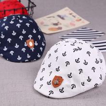 新款铁锚贴标儿童贝雷帽子 春秋季1-3岁男宝宝鸭舌帽