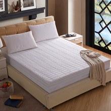 全棉竹节格绗绣360度夹棉床笠床垫罩 白色纯棉加厚床笠