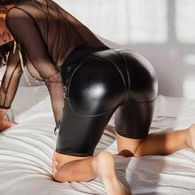 个性PU拼接压线紧身性感蜜桃翘臀皮裤亚马逊火爆女裤潮短裤83312