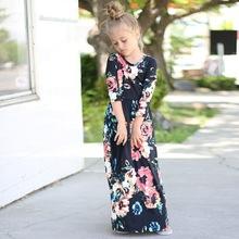 2018春夏速賣通爆款歐美花童連衣裙休閑女童長款馬克西連衣裙