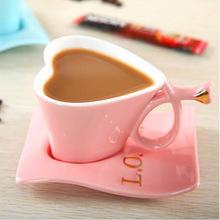 曲灯直销 创意心形陶瓷杯 欧式咖啡心形杯碟 情侣爱心马克杯
