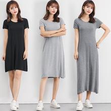 连衣裙夏季新款2019韩版莫代尔短袖大码长裙 宽松内搭短袖打底裙