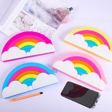 创意彩虹多功能大容量笔袋学生铅笔盒手机化妆包防水新款硅胶笔袋