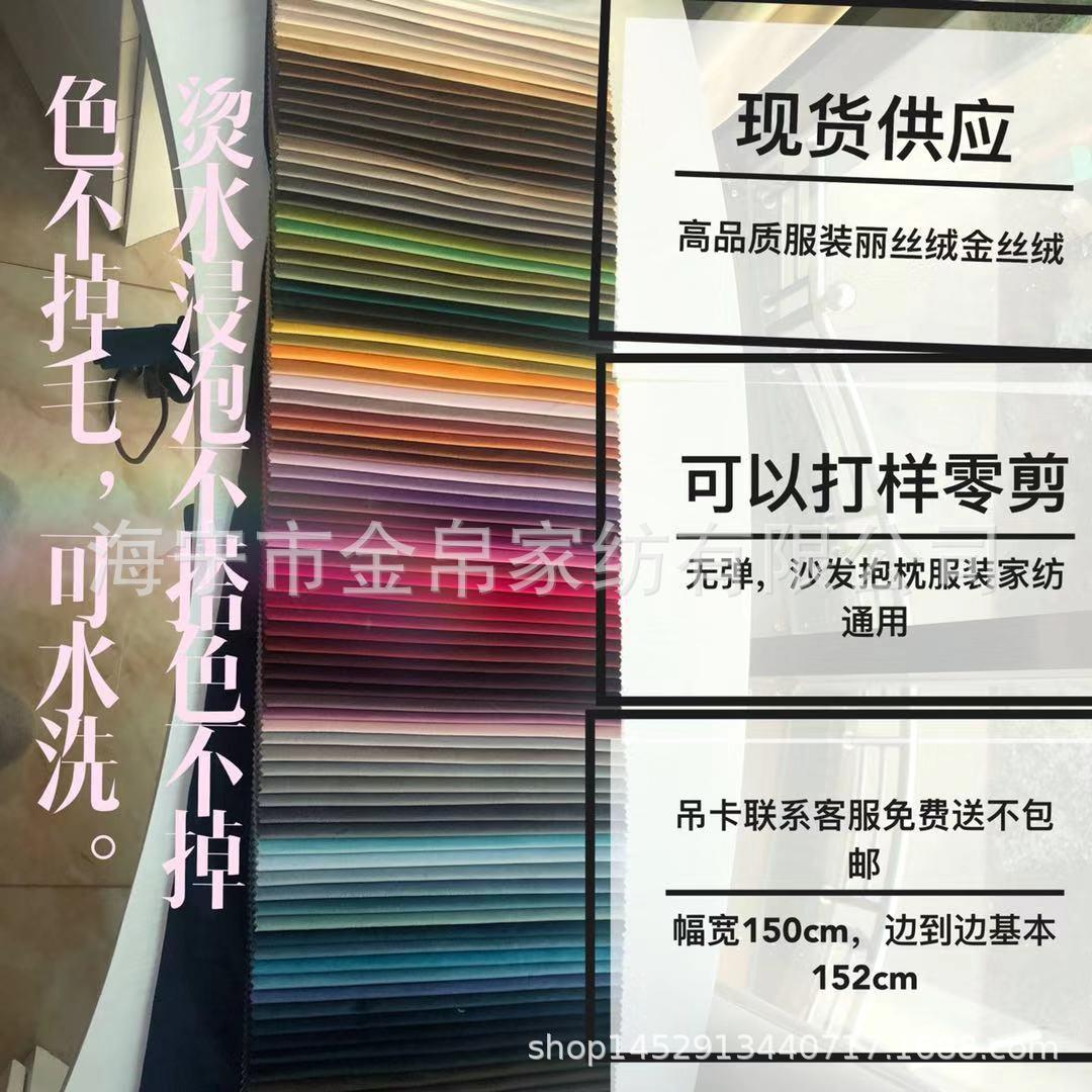 丽丝绒天鹅绒荷兰绒金丝绒服装颜色大全家纺服装厂家直销JB607