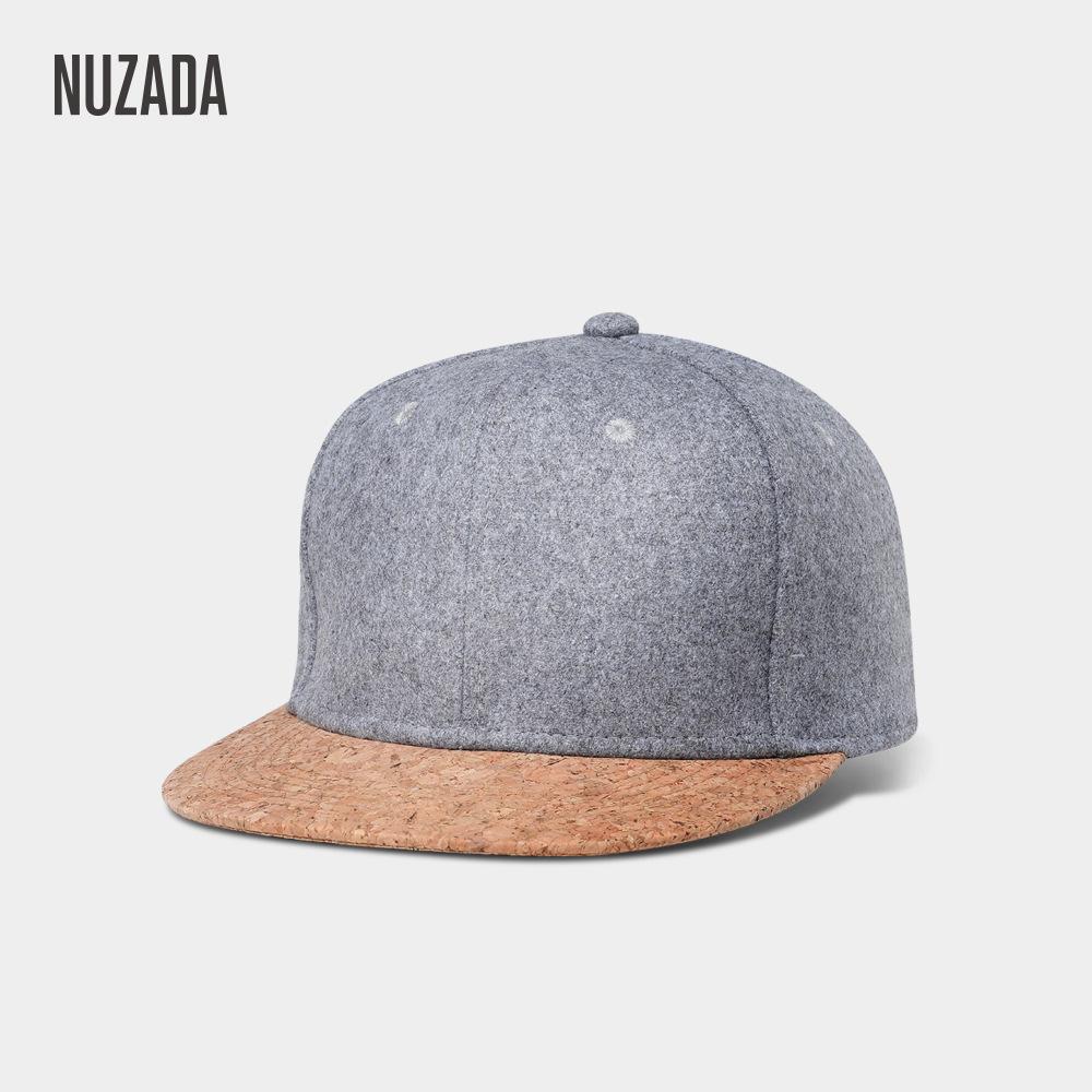 NUZADA 秋冬款户外男士帽子 欧美新款平沿嘻哈帽毛呢女士棒球帽