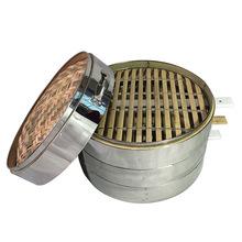 竹制蒸笼包子笼屉 不锈钢竹柄圆形笼屉 圆形蒸笼包子笼包蒸笼批发
