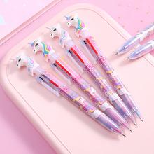 卡通少女心独角兽多色圆珠笔创意6色按动笔芯彩色油笔手账笔文具