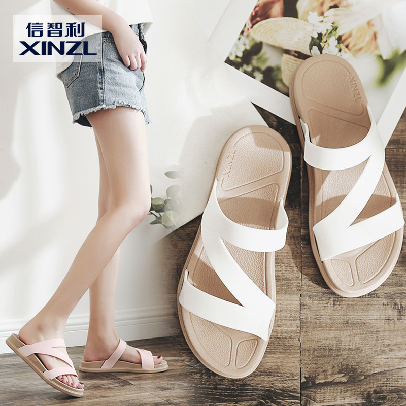 One word pulls new fund summer large base slipper female outside preventing slippery beach to note m