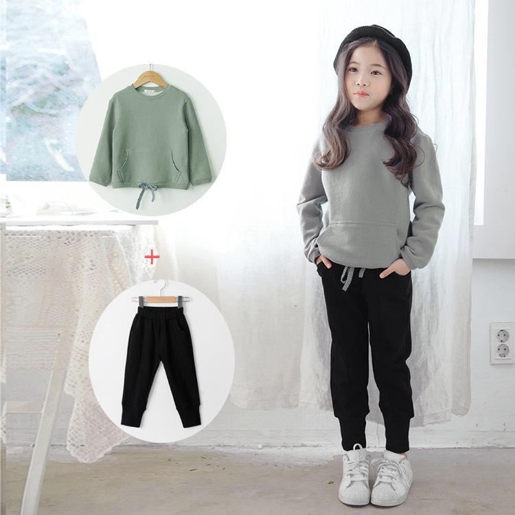 2018秋季新款韩版休闲套装女童卫衣休闲装中大童加绒裤亲子两件套