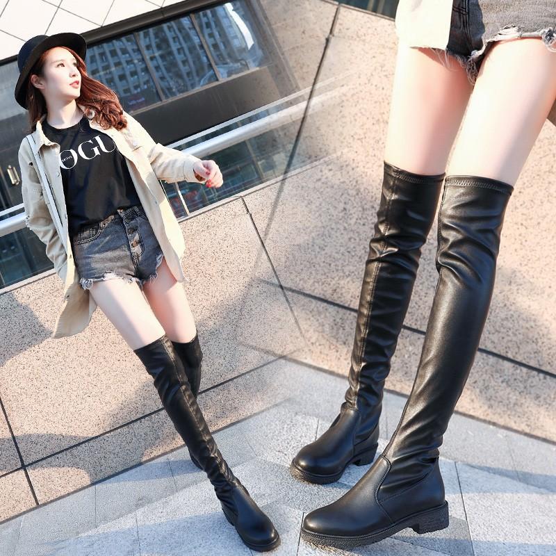 振羽秋冬新款弹力过膝马丁靴长靴女单靴平底长筒靴高筒靴学生女鞋