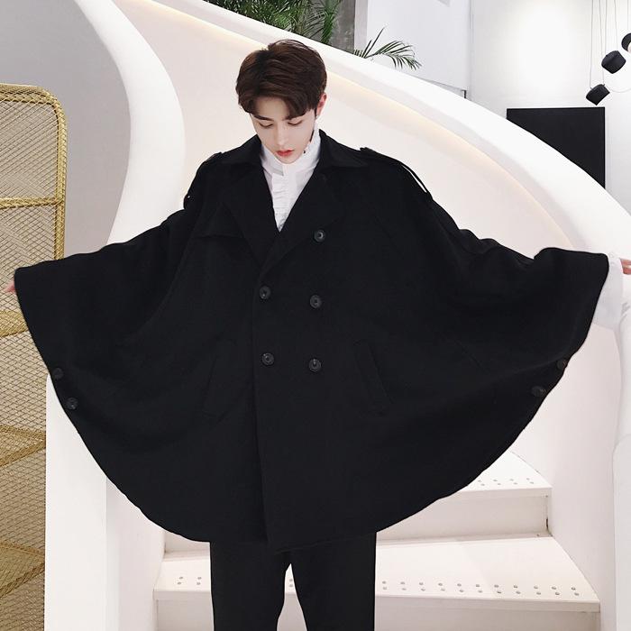 个性新款另类双排扣呢料圆弧下摆设计师款超宽斗篷外套美发店夜店