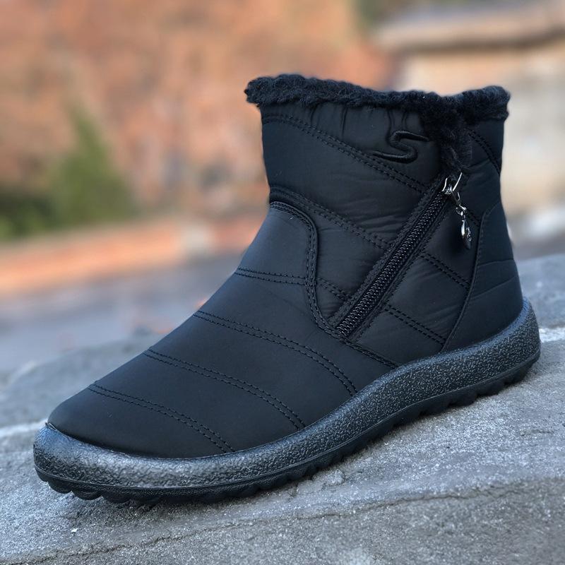 欣清2018秋冬季新款雪地靴女中筒厚毛绒防水棉靴侧拉链棉靴跨境43