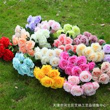 17色仿真花玫瑰10頭相思玫荷蘭多頭把花束婚禮婚慶花背景花墻