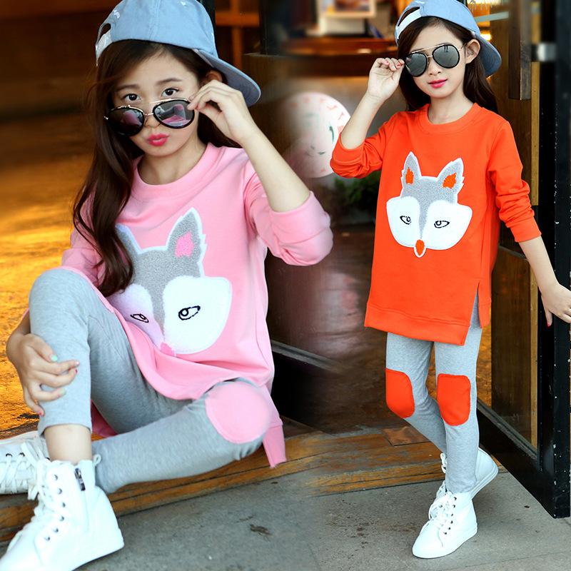 童装秋季新款中大童宝宝长袖套装女童卡通狐狸头两件套休闲套装