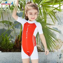 現貨新款兒童泳衣連體男女童游泳衣短袖短褲防曬中小童泳裝批發