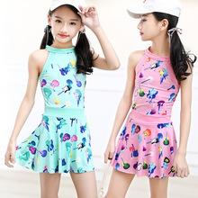 韓版女童泳衣兒童分體連體平角褲裙式泳裝中大童學生少女游泳衣