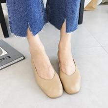 露曼尼2018夏季新款女复古方头真皮V口粗跟中跟套脚软皮工作单鞋