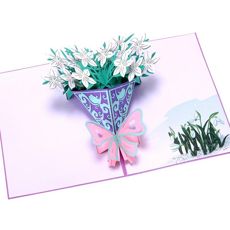 教师节立体贺卡生日祝福韩国创意礼物3D栀子花花束小卡片定制批发-