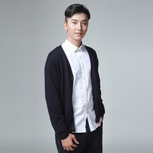 2019春季新款男毛衣韩版修身V领针织衫男式长袖?#21487;?#24320;衫外套