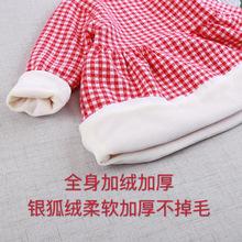 加绒加厚女童毛衣针织连衣裙秋冬新款婴幼儿经典格子公主裙长袖