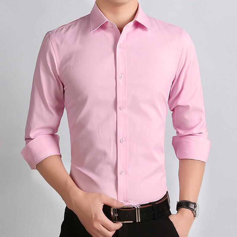 新款男装长袖衬衫男粉色结婚新郎伴郎提花青年寸衣衬衣潮流帅气