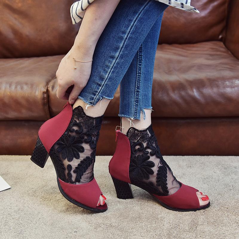 跨境货源亚马逊ebay爆款大码网纱高跟鞋 粗跟高跟蕾丝鱼嘴女鞋