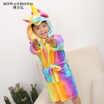 家居服批发法兰绒儿童卡通动物睡衣连体彩虹天马一件代发 浴袍