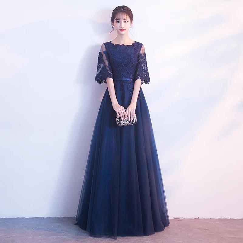 宴会晚礼服圆领女2019新款年会高贵优雅聚会长款礼服裙藏蓝色秋冬