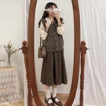 女神范套装裙秋冬2018新款韩版气质衬衫针织马甲长裙时尚三件套女