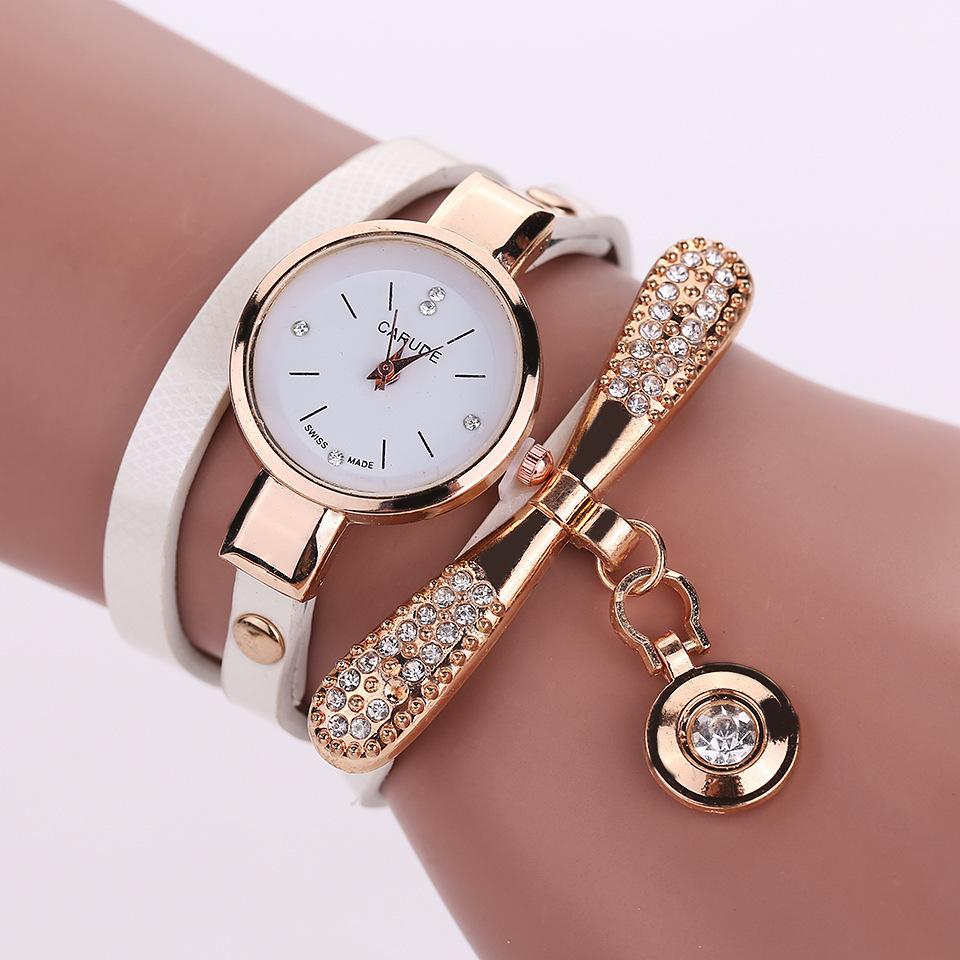 新款细带时尚女士手表 休闲三圈缠绕手链表 女士时装石英手表批发