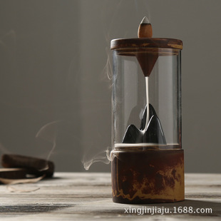 新款倒流香座复古陶瓷假山办公泡茶摆件玻璃圈窑变瓷四件套礼盒装图片