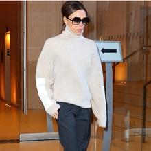2018韩版新款贝嫂明星同款高领羊毛衫拼接皮小堆领毛衣休闲羊绒衫