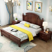 实木床橡木欧式白色双人1.5美式乡村卧室简约1.8米轻奢婚床经济型