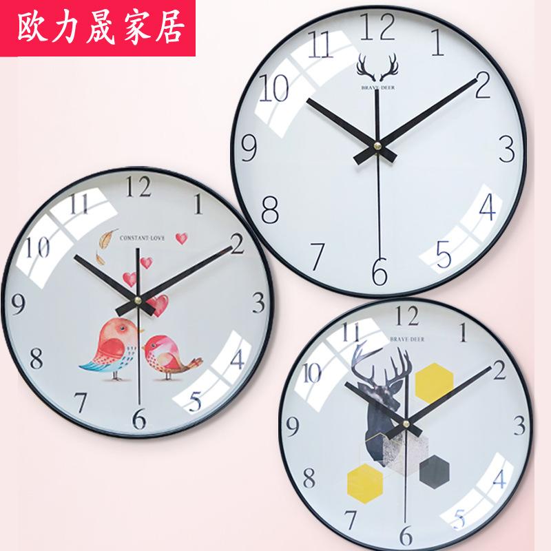 北欧风艺术挂钟批发卧室客厅钟表现代简约个?#28304;?#24847;时尚潮流时钟